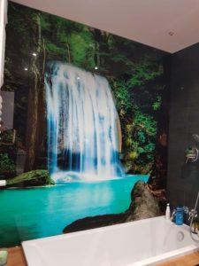 wodospad panel szklany lazienka
