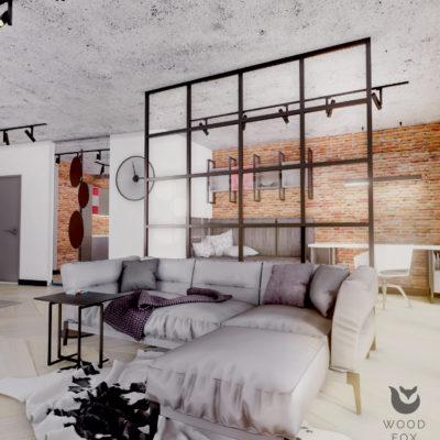 czarwona cegiełka ozdobna; czarny stolik metalowy; betonowy sufit struktura; ścianka loft w salonie