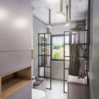 drewniana wnęka; betonowy ozdobny sufit; czarne lampy łazienka; siedzisko w łazience; czarny kaloryfer