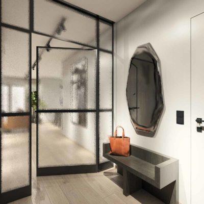 drzwi w czarnej ramie; stylowy przedpokój