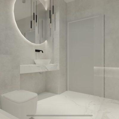 stylowa łazienka; biała jasna łazienka;
