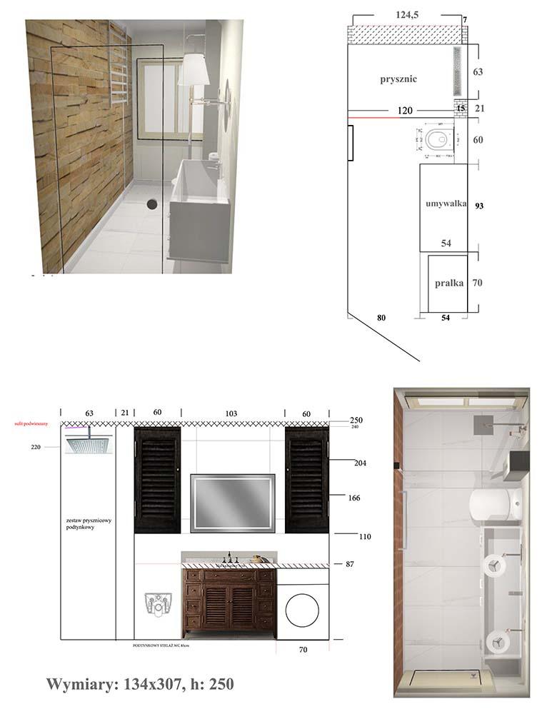 Projekt podłużnej łazienki