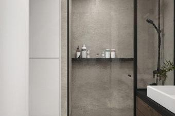 Drzwi loftowe do łazienki i  kabina prysznicowa